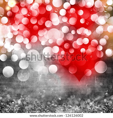 Elegant Grunge Silver, Gold, Purple, Pink, Red Valentines Heart Light Bokeh & Crystal Vintage Texture Background - stock photo