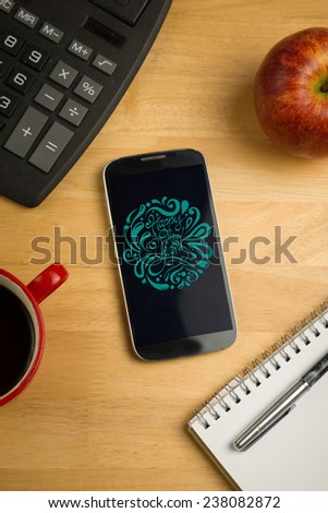 Elegant happy new year against overhead of smartphone with calculator - stock photo