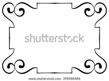 elegant horizontal black frame on a white background - stock photo
