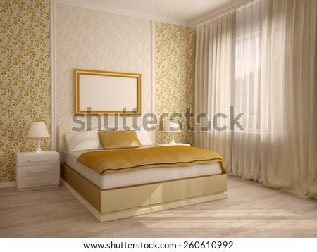 Elegant house bedroom interiors - stock photo