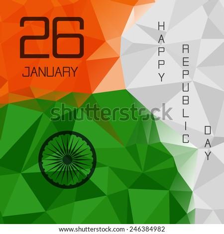 Elegant Indian flag theme background of Happy Republic day. Polygonal style. Triangle design. 26 january.  - stock photo