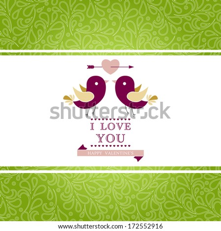Elegant invitation card with floral ornament background. I Love You. Perfect as invitation or announcement. For vector version, see my portfolio.   - stock photo