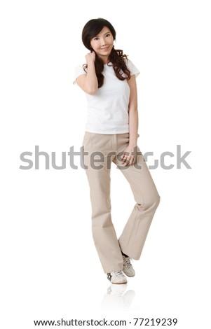 Elegant Japanese woman, full length portrait isolated on white background. - stock photo