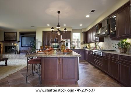 Elegant kitchen room in luxury house - stock photo