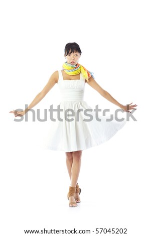 Elegant lady in the stylish dress and scarf going on a white background