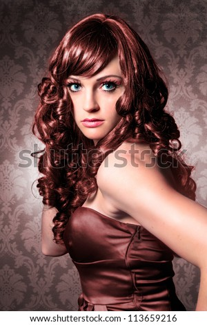 elegant lady with brown tinted hair / haircolors-15 - stock photo