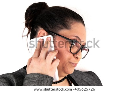 Elegant lady with mobile phone on white background