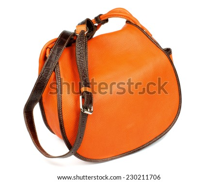 Elegant Leather Orange Women Bag with Silver Details and Brown Handle isolated on white background