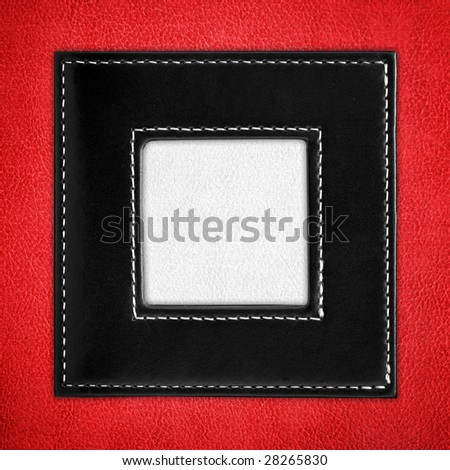 elegant leather picture frame - stock photo