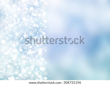 Elegant light blue blurred snowflakes background with tiny little shining stars and space for text. Happy New Year or Marry Christmas winter card concept. - stock photo