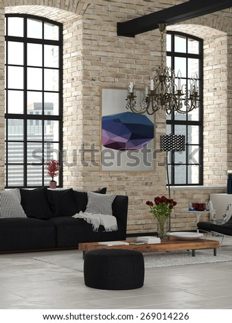 Elegant Living Room Design with Chandelier Inside an Architectural House, Styled with Black and White and Wooden Furniture. 3d Rendering. - stock photo