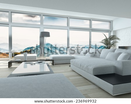 Elegant Living Room Design, with White Furniture, Inside Architectural Building with Huge Glass Windows. 3D Rendering.  - stock photo