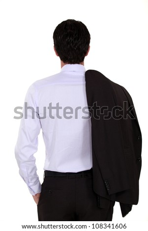 Elegant man from backwards - stock photo