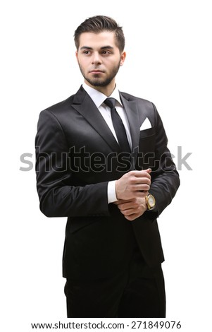 Elegant man in suit isolated on white