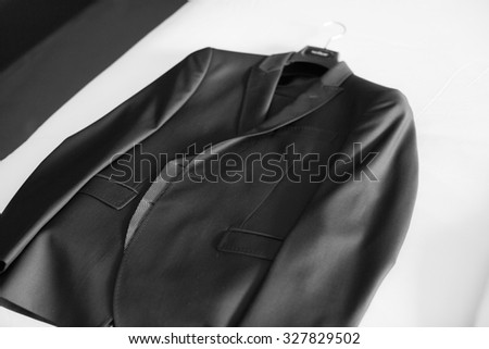 Elegant man suit. Black and white photography. Wedding clothes. Black and white photography