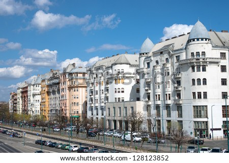 elegant mansions along the Danube riverside of Budapest - stock photo