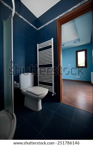 Elegant marble batroom in appartement or hotel - stock photo