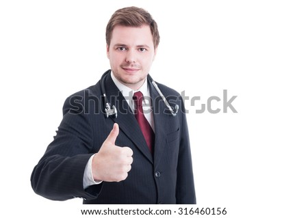 Elegant medic or doctor showing like thumb-up gesture isolated on white - stock photo