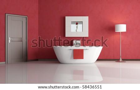 elegant minimalist red bathroom - rendering - stock photo