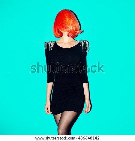 Elegant Model. Minimal. Geometry. Style Hair. Red Hair Color trend.