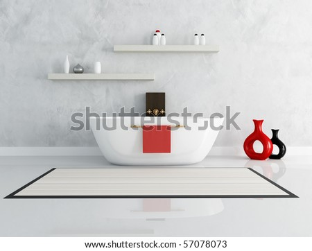 elegant modern bathroom with fashion bathtub - rendering