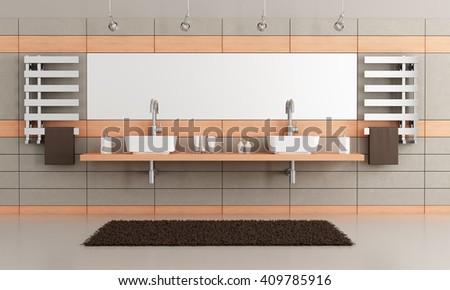 elegant modern bathroom with two washbasin -3d rendering - stock photo