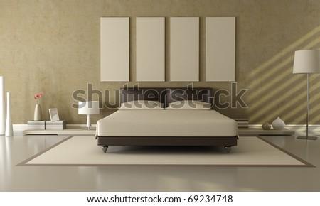 elegant modern brown and beige bedroom - stock photo