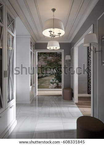 3d render. Elegant Modern Classic Provence and Luxurious Hall Interior  Design with Gray Walls, White Gray Marble