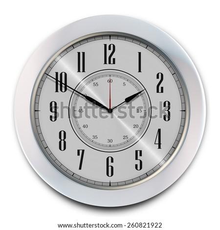 Elegant Modern Office Wall Clock Isolated on White. 3D illustration. - stock photo