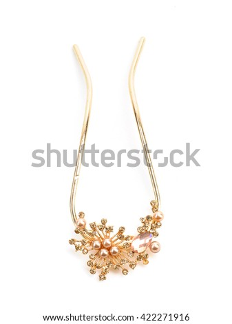 elegant necklace isolated on white background - stock photo