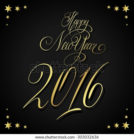 Elegant New Years card with hand lettering, Happy New Year 2016 - stock photo