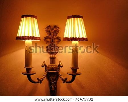 elegant nostalgic wall lamp - stock photo