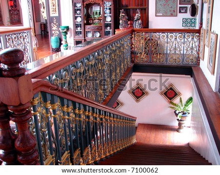 Elegant old oriental mansion's staircase