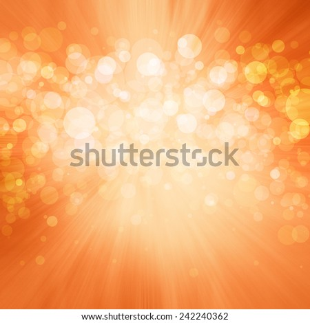 elegant orange background, white bokeh lights shine in center layer on blurred zoom effect background, shiny glittering silver white balls of light with bright center and copper orange hue border - stock photo