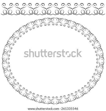 elegant oval frame on white background - stock photo