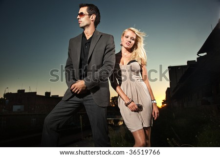 Elegant pair over a sunset background - stock photo