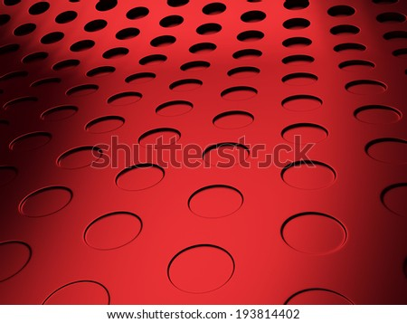 Elegant perforated red metallic background with circles - stock photo