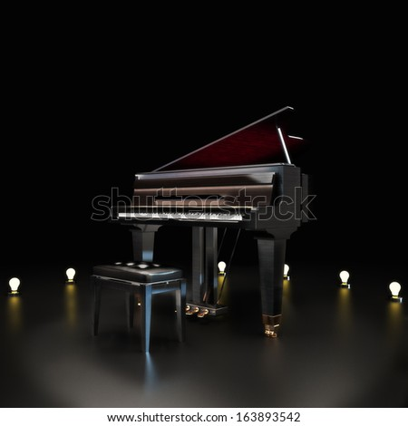Elegant piano center stage with lighting accents on a black background. Room for text or copy space .Piano concert music concept. - stock photo