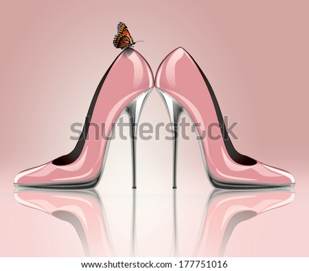 Elegant pink, high heel shoes with butterfly, symbol for wedding and engagement. - stock photo
