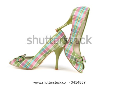 elegant plaid high heels - stock photo