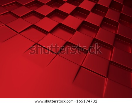 Elegant red metallic background with chess pattern and space for text - stock photo
