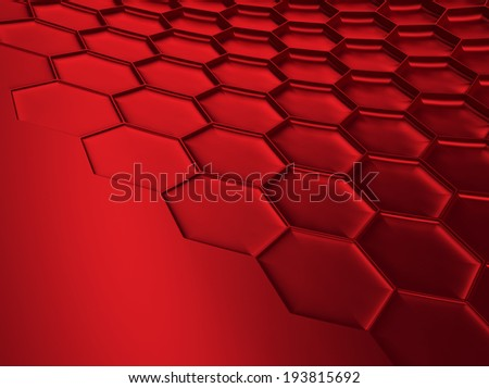 Elegant red metallic background with hexagon pattern and space for text - stock photo