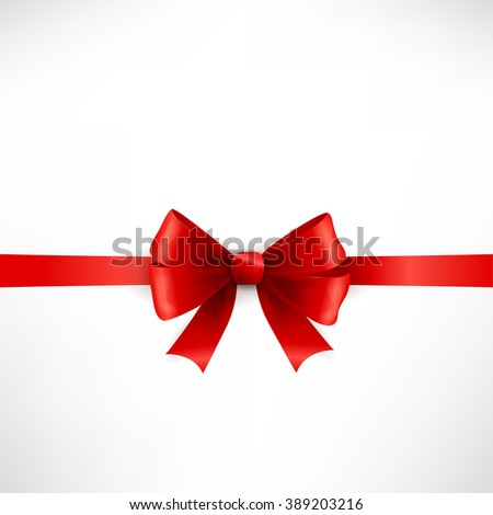 Elegant red ribbon and bow isolated on white. Red bow. Red ribbon.