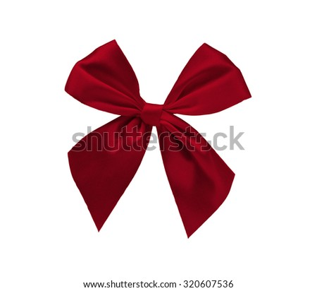 Elegant red ribbon bow isolated on white background