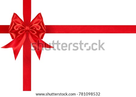 elegant red satin ribbon bow with crosswise ribbons isolated on white background