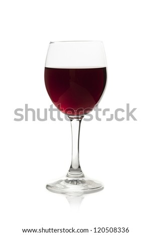 Elegant red wine glass isoolated on a white background