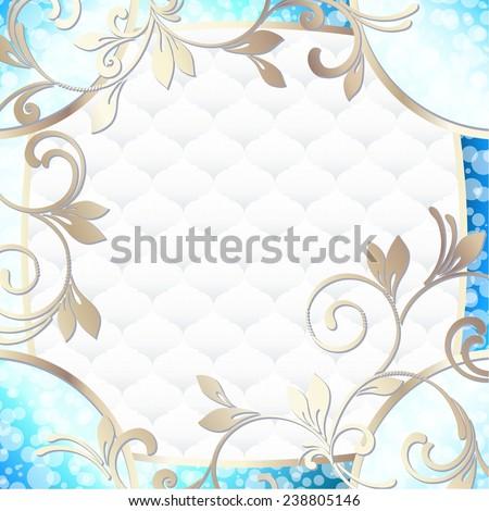 Elegant rococo frame in vibrant blue on white (jpg); eps10 version also available - stock photo