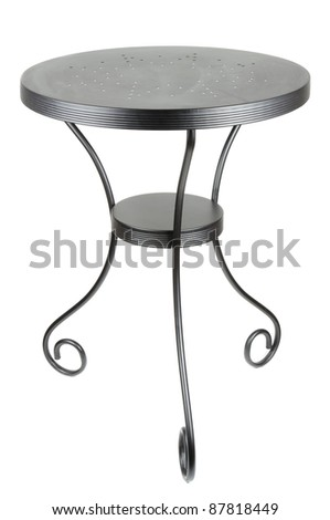 Elegant Round Black Table Isolated on White Background - stock photo
