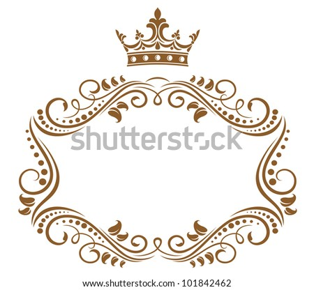 Elegant royal frame with crown isolated on white background. Vector version also available in gallery - stock photo