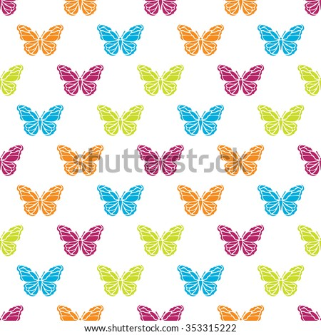 Elegant seamless pattern with abstract butterfly symbols, design elements. Can be used for invitations, greeting cards, scrapbooking, print, gift wrap, manufacturing. Insect theme - stock photo
